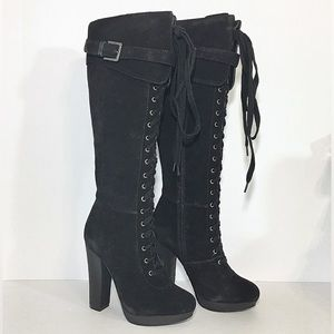 Charles David Black Suede Knee High Boots New